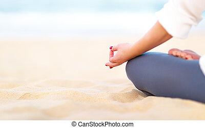 женщина, йога, meditates, рука, practices, пляж