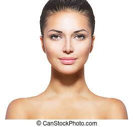 женщина, кожа, свежий, молодой, лицо, чистый, красивая