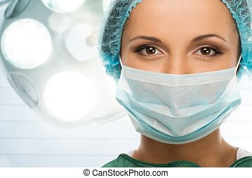 женщина, комната, врач, кепка, маска, молодой, лицо, интерьер, хирургия