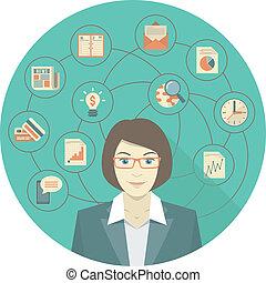 женщина, концепция, современное, бизнес