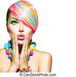женщина, красота, красочный, nails, составить, аксессуары, волосы