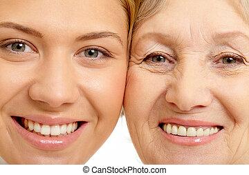 женщина, крупный план, мама, два, faces, красивая