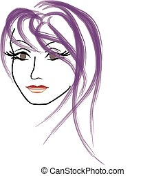 женщина, лицо, вектор, красивая