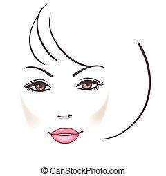 женщина, лицо, красивая