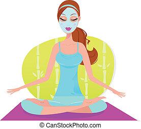 женщина, маска, мат, сидящий, лицевой, йога, meditat, красивая