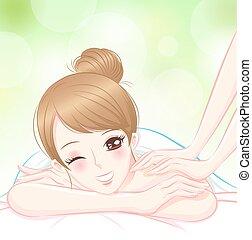 женщина, массаж, расслабиться