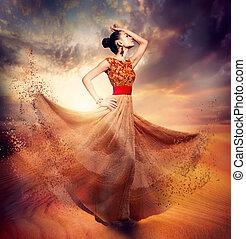 женщина, мода, танцы, носить, blowing, шифон, длинный, платье