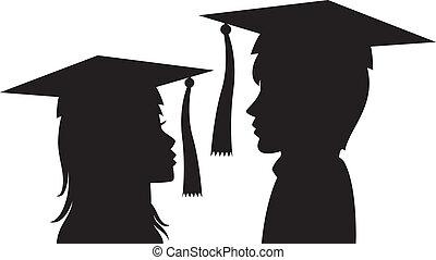 женщина, молодой, выпускники, человек