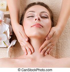 женщина, молодой, лицевой, получение, массаж, спа, massage.