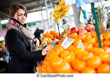 женщина, молодой, рынок