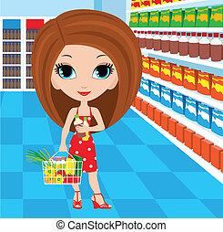 женщина, мультфильм, супермаркет
