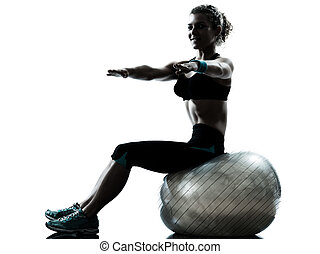 женщина, мяч, разрабатывать, фитнес, exercising