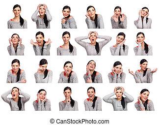женщина, несколько, молодой, isolated, показ, expressions