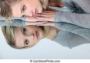 женщина, отражение, ее, ищу, зеркало, блондинка