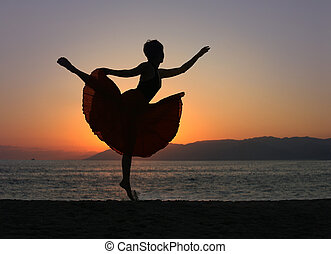 женщина, пляж, танцы