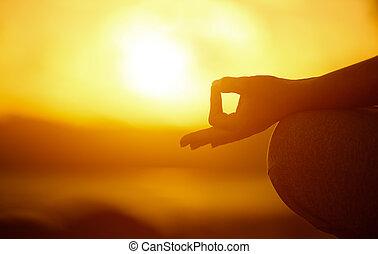женщина, пляж, concept., practicing, йога, рука, лотос, поза