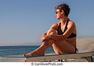 женщина, пляж, relaxing