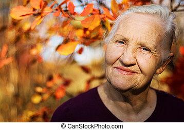 женщина, пожилой, осень