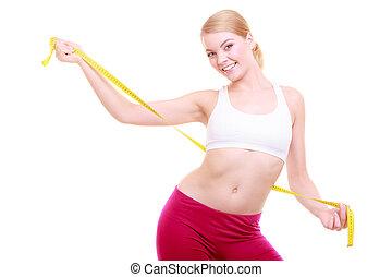 женщина, поместиться, фитнес, isolated, лента, diet., измерение, девушка