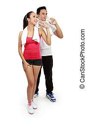 женщина, после, воды, фитнес, питьевой, человек