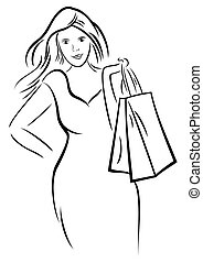 женщина, поход по магазинам