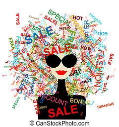 женщина, поход по магазинам, концепция, дизайн, люблю, мода, ваш, sale!