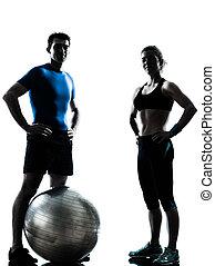 женщина, разрабатывать, exercising, мяч, фитнес, человек