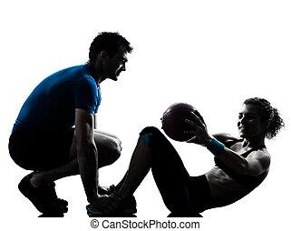 женщина, разрабатывать, exercising, мяч, weights, фитнес, человек