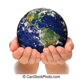 женщина, север, ее, земной шар, держа, америка, руки, юг