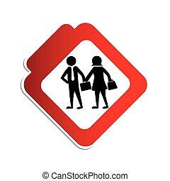 женщина, силуэт, pictogram, цвет, знак, executives, дорога, человек