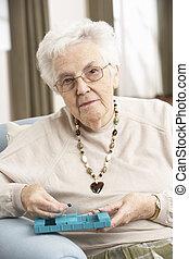 женщина, сортировка, organiser, лечение, с помощью, главная, старшая