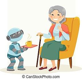 женщина, старшая, робот, assisting, eldercare