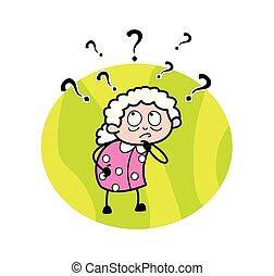 женщина, старый, -, смущенный, иллюстрация, вектор, бабуся, мультфильм