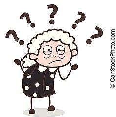 женщина, старый, смущенный, иллюстрация, вектор, выражение, мультфильм