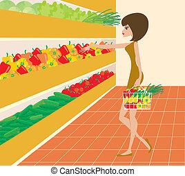 женщина, супермаркет