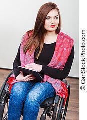 женщина, таблетка, инвалидная коляска, инвалид, с помощью, девушка