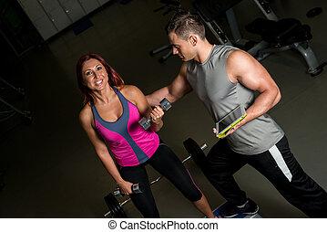 женщина, таблетка, цифровой, exercising, тренер, фитнес, с помощью, человек