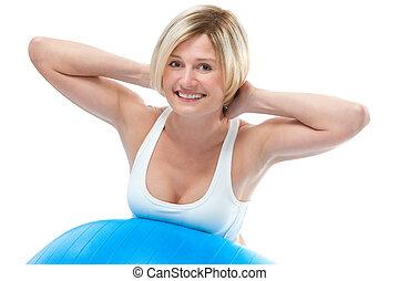 женщина, упражнение, фитнес