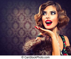 женщина, фото, styled, lady., portrait., ретро, марочный, surprised