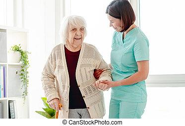 женщина, ходить, воспитатель, пожилой, помощь