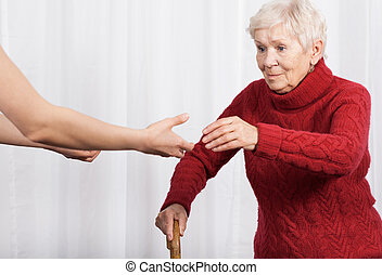 женщина, ходить, пытаясь, пожилой