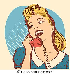 женщина, цвет, talking, волосы, ретро, молодой, изобразительное искусство, иллюстрация, вектор, блондин, phone., поп