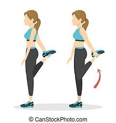 женщина, четырехглавая мышца, круто, вниз, протяжение, exercise.