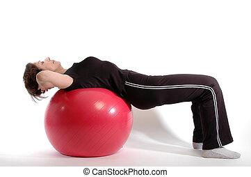 женщина, 904, мяч, фитнес