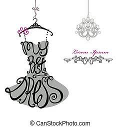 женщина, chandelier., шаблон, dress., лучший, silhouette., words, платье