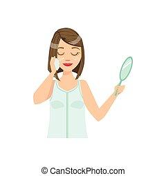 женщина, cleansing, лечение, лицевой, спа, главная, процедура