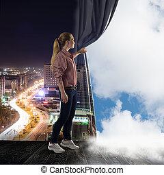 женщина, clouds, pushes, молодой, ищу, занавес