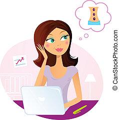 женщина, dreaming, около, офис, массаж