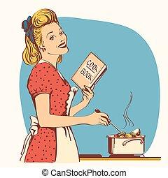 женщина, fashioned, room., ретро, суп, старый, молодой, красный, готовка, кухня, ее, платье