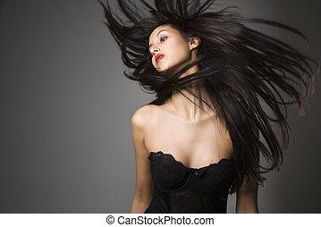 женщина, flinging, длинный, hair.